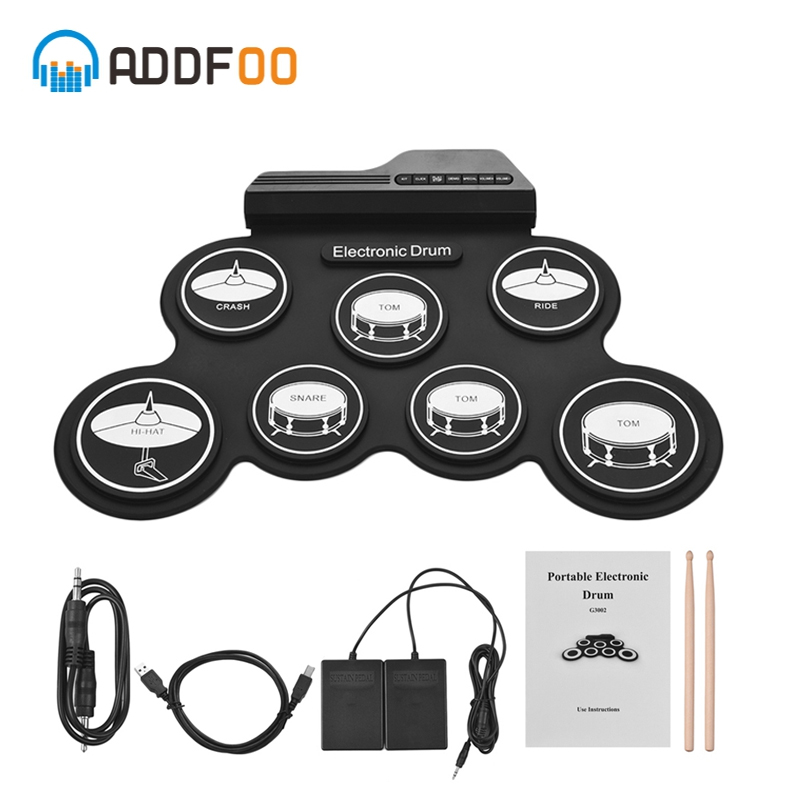 ADDFOO Compact Size Usb Roll-Up Silicon Drum Set Digital Electronic Drum Kit 7 Drum Pads With Drumsticks Foot Pedals For Beginne