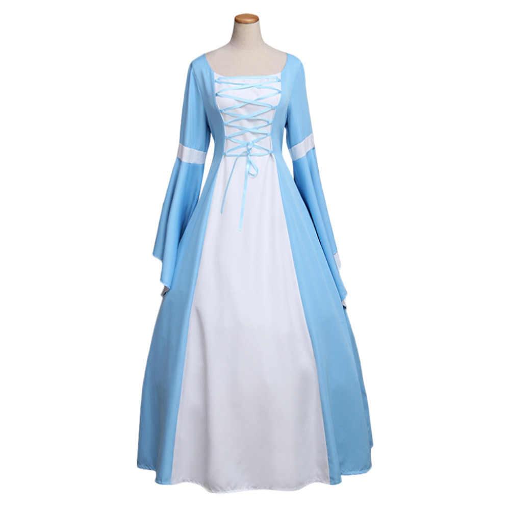 Средневековый костюм для Для женщин готика синий Винтаж длинные средневековый стиль ренессанс викторианский платье Элизабет индивидуальный заказ
