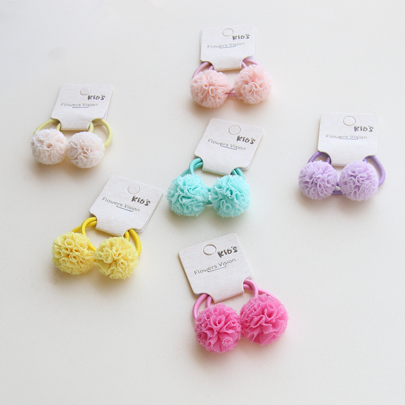 2pcs/lot Ball Student color Beads Hair Rope Girls Hair Accessories Ponytail Elastic Hair Band Hair Tie