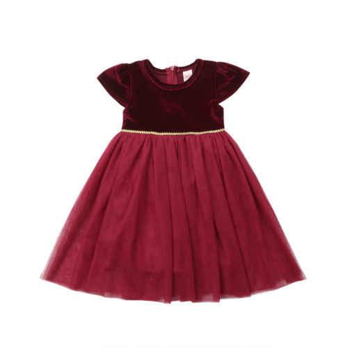 792d260b4267 ... New Xmas Kid Girl Wine Velvet Tutu Dress Princess Christmas Dress Kid Baby  Girl Party Wedding ...