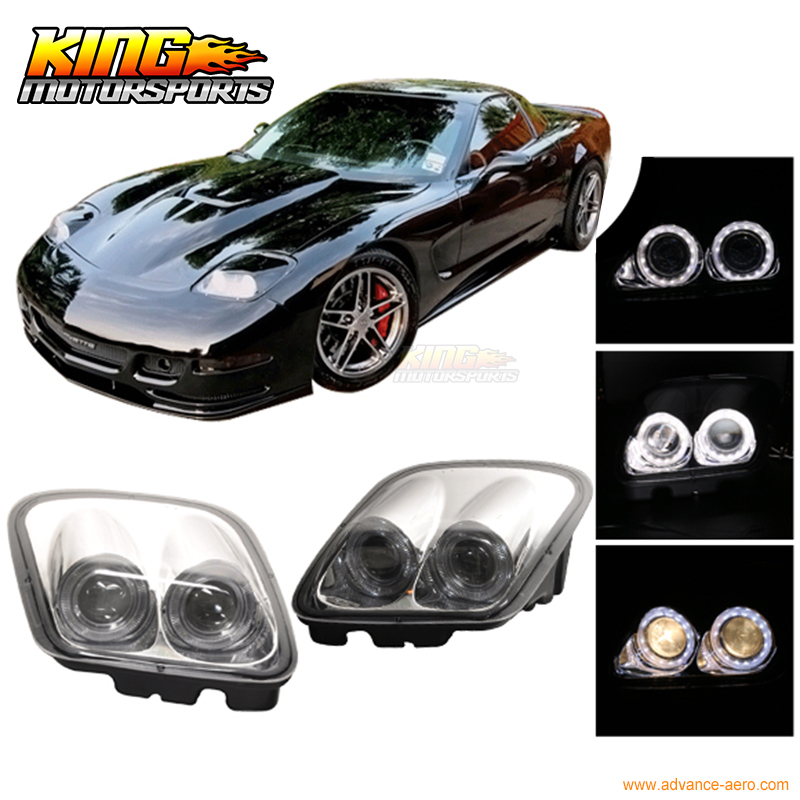 цена на For 97-04 Chevy Corvette C5 Chrome Projector Head Lights Dual LED Halo Rims USA Domestic Free Shipping Hot Selling