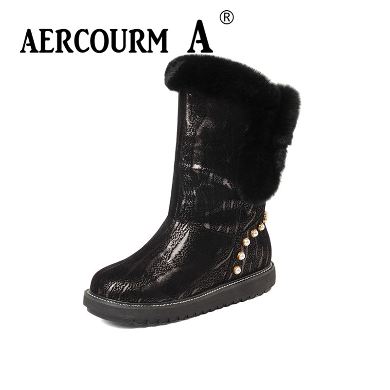 Aercourm A 2017 Women Snow Boots Winter Wool Shoes Black Rivet Boots High Quality Genuine Leather Boots Round Toe Shoes Z967