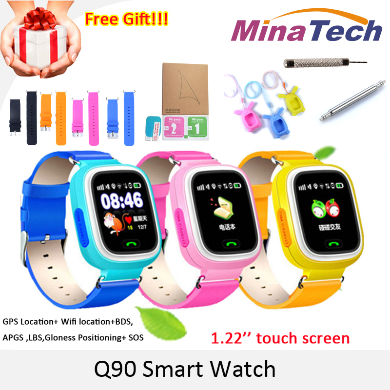 Smart baby Watch Q90 WIFI Touch Screen GPS Tracker smart watch jphone for kids safe SOS call Location devices Anti-Lost reminder smart baby watch каркам q60 голубые