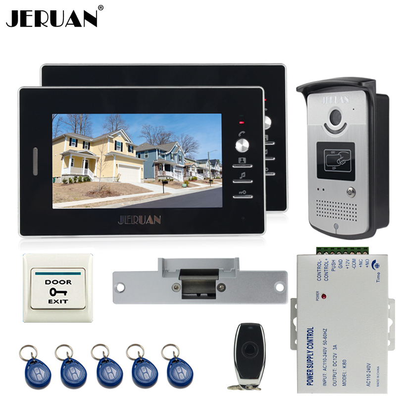 JERUAN 7 inch TFT video door phone Entry intercom system kit 700TVL RFID IR Night Vision  Camera 2 monitor In stock