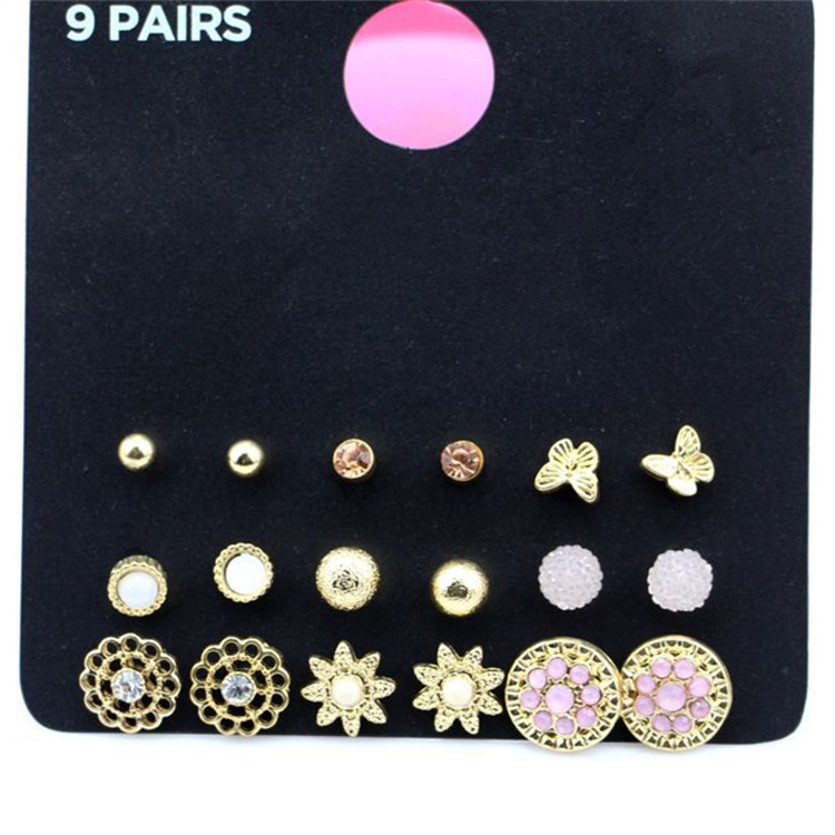 Claire fashion accessories stud earring pack set 9 pairs butterfly stars flower love heart gift for women broncos