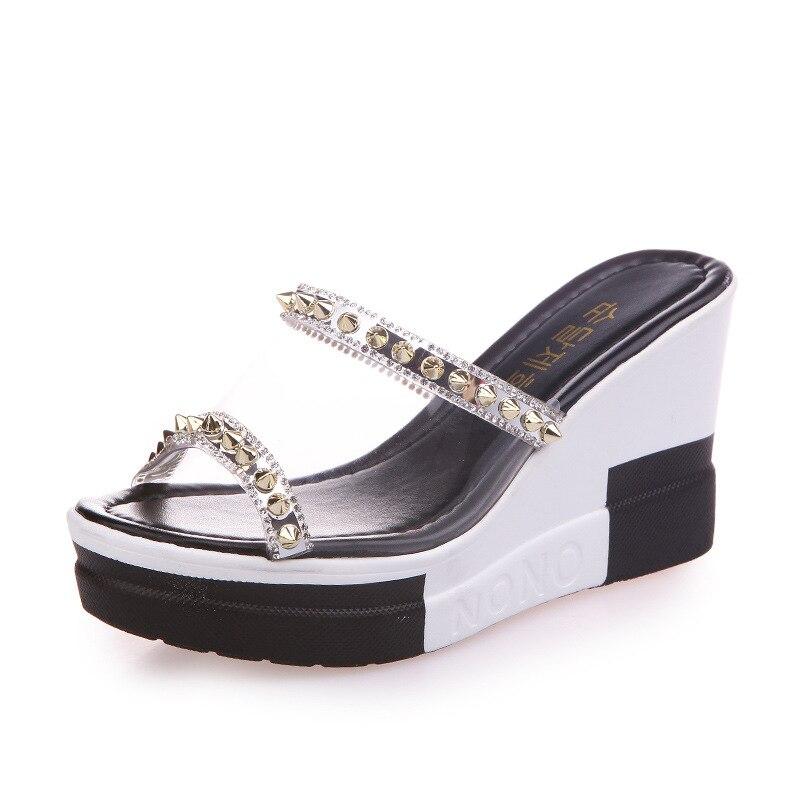 Dames tij outdoor 2018 zomer nieuwe mode steentjes platform sandalen - Damesschoenen