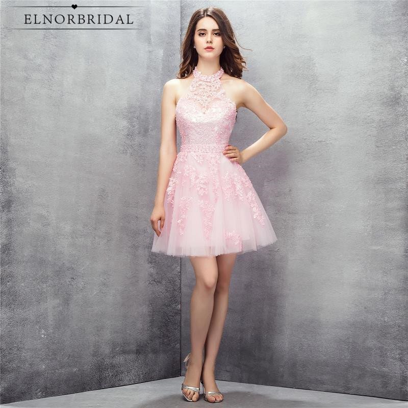 Sexy Backless Pink Cocktail Dresses 2018 Vestidos De Coctel Cheap Girls Special Occasion Party Dress
