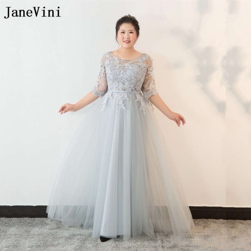 JaneVini Elegant Plus Size Light Gray Mother of The Bride Dresses 2018 Lace Appliques Floor Length Long Gowns for Women Formal