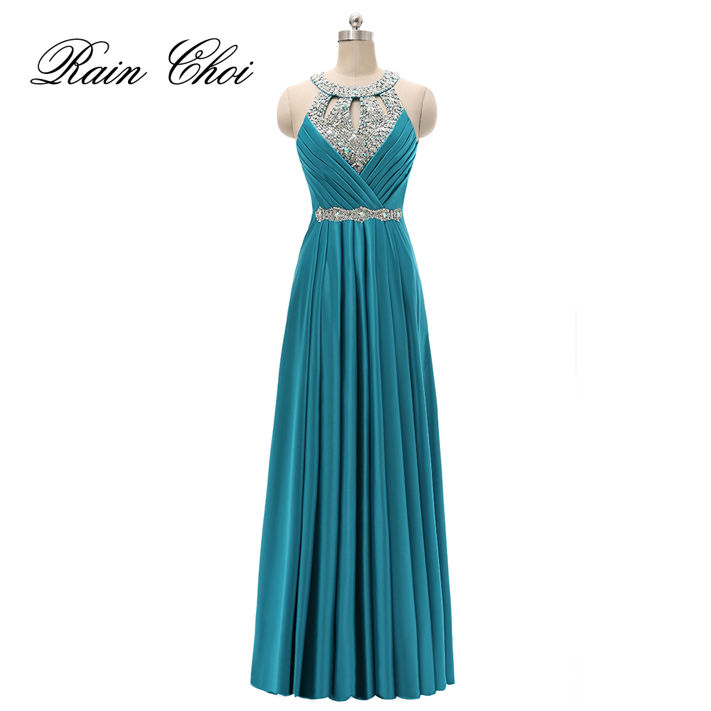 Sexy Long Evening Dress Halter Evening Gowns Sleeveless Elegant Prom Party Formal Dresses 2019