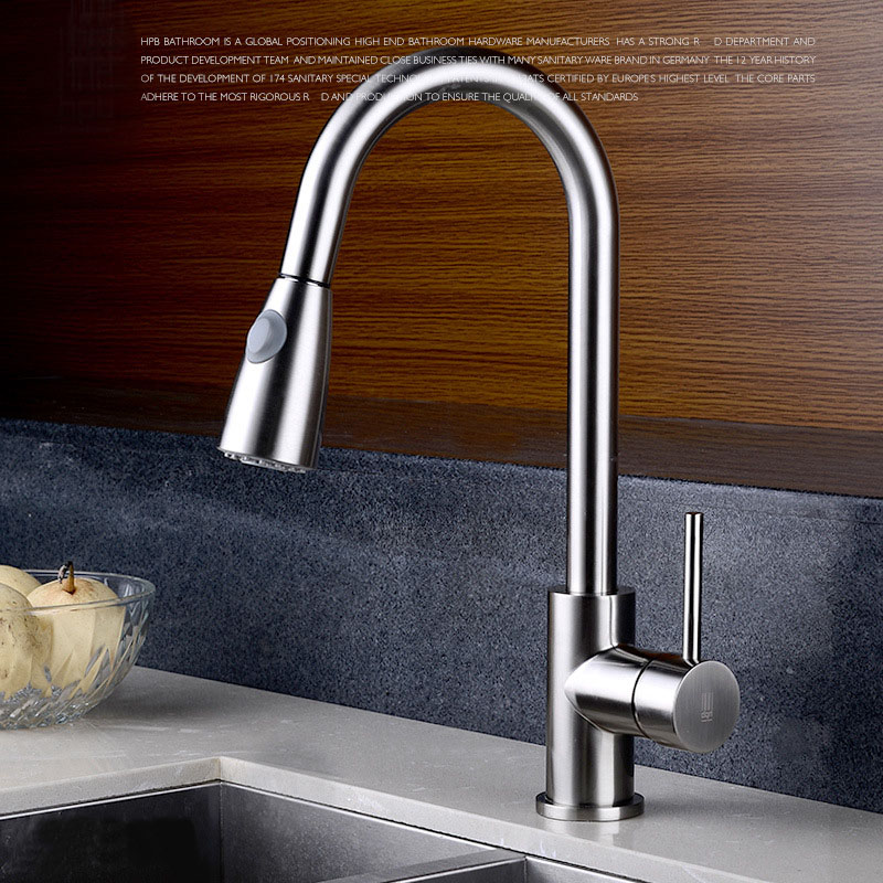 Quality Brushed Chrome Kitchen Faucet Mixer Tap Swivel Spout Pull Out Spray Head Cold Hot  Brass Sink faucet Water tap 2121331 led spout swivel spout kitchen faucet vessel sink mixer tap chrome finish solid brass free shipping hot sale