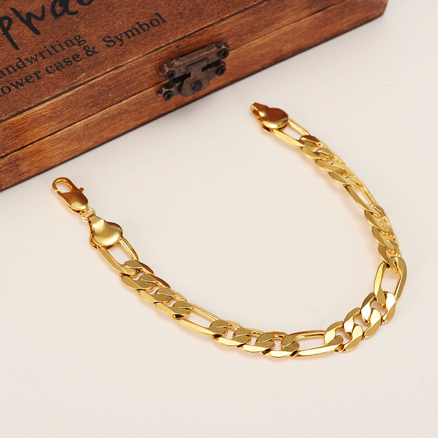 Mens 24 k Solid Gold GF 10mm Italian Figaro Link Chain Bracelet 8.7 Inches Jewelry