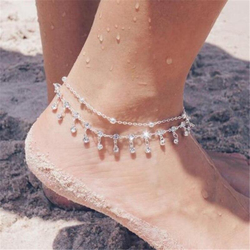Minimalist Round Zircon Anklets Bracelets Trendy Rhinestone Silver Color Chain For Female Wedding Jewelry