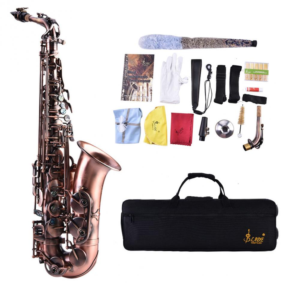 Professional Brass Alto Eb Saxophone Curved Horn Sax Instrument with Bag Strap Kit the B ...