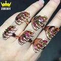 Natural turmalina piedras preciosas anillo Auténtica plata de ley 925 mujeres de plata anillos de piedra ZHHIRY