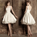 2016 Hot Sale robe de cocktail Cocktail Dresses Cap Sleeves White Satin A-Line Knee Length Cocktail Party Dresses Free Shipping