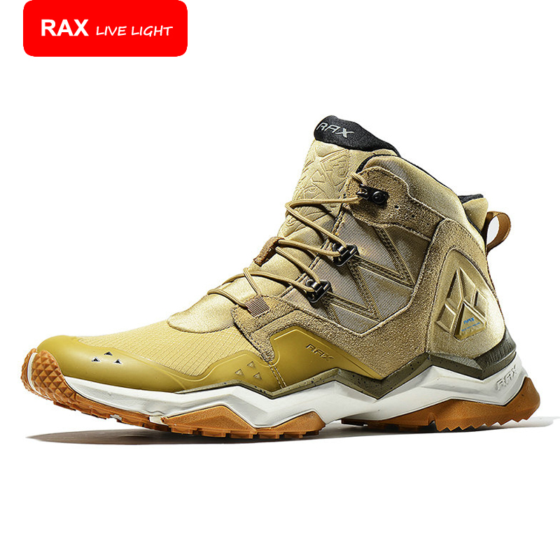 ФОТО RAX Surface Waterproof Genuine Leather Hiking Shoes Men Outdoor Breathable Mountaineering Climbing Trekking Shoes 63-5B369