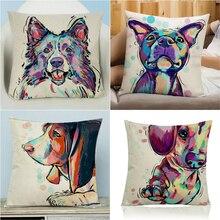 CUSCOV New  Dog Pugs Printied Linen Throw Pillow Animals Pillows Cover Home Decorative Pillowcase Decorativos The factory