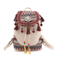backpack for women Bohemian style hippie Boho vintage ladies canvas tassel shoulder bag Cotton Fabric Bag ethnic bags knapsack
