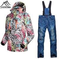 2016 Gsou Snow Ski Suits Women Winter Skiing Jacket Pants Thermal Thicken Waterproof 10000 Breathble 10000