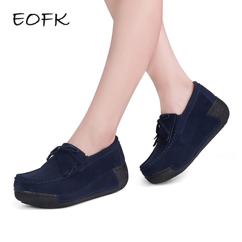 EOFK Women Flat Platform Loafers Ladies Elegant Suede Moccasins Fringe Shoes Woman Slip On Tassel Moccasin Women's Casual Shoes new suede leather women shoes loafers slip on sewing driving flats tassel woman breathable moccasins blue ladies boat flat shoes