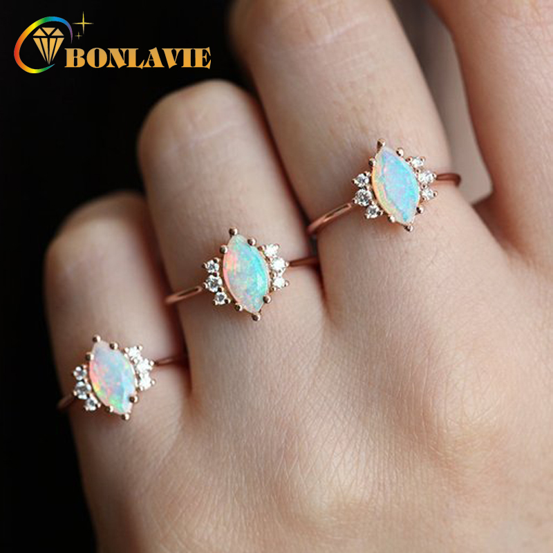2018 Hot Sale White Opal Ring For Women Oval Crystals