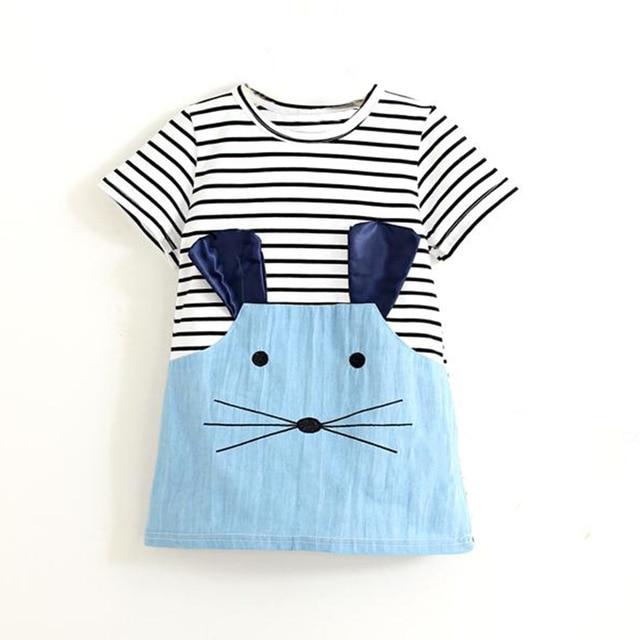 2018 Nova 1-8Y vestidos casuais listradas meninas uma linha de vestidos de verão para crianças vestidos de moda T-shirt de manga curta para crianças meninas