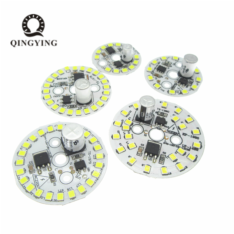 10pcs AC220V Non-flickering 5W 7W 9W 12W 15W LED Lamp Plate High PF SMD2835 White Light Plate With Smart IC For Bulb Light
