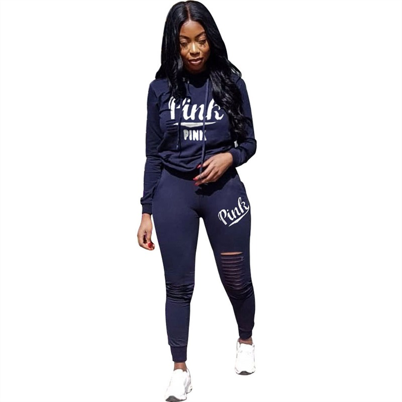 RAISEVERN 2019 Pink Letter Print Tracksuit Women Casual Outfits 2 Two Piece Set Full Pants Suits Plus Size Clothing Autumn