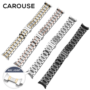 Image 4 - Carouse Calf Leather Watch Band Strap 12 13 14 15 16 17 18 19 20 21 22 23 24mm Stainless Steel Metal Watchband Combined sales