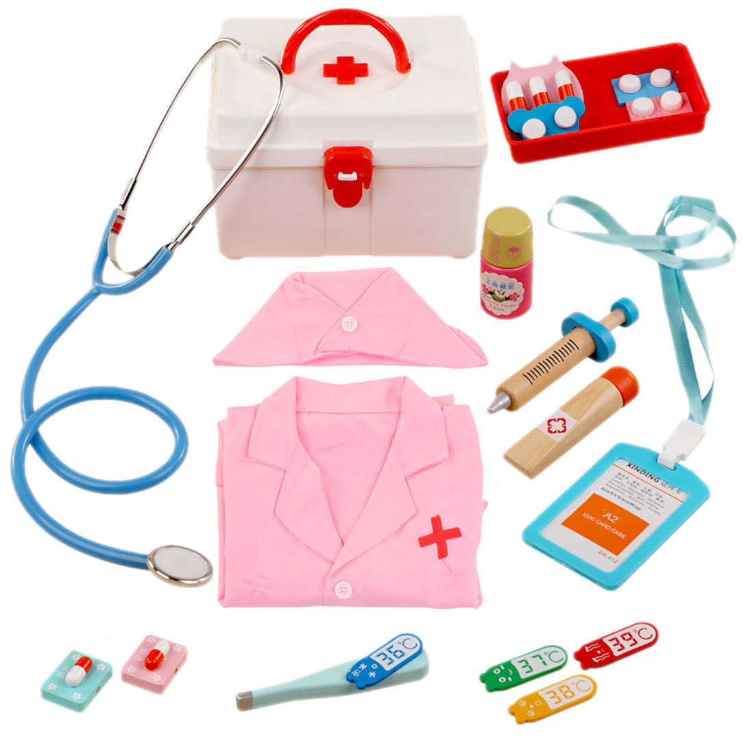 14Pcs Children Pretend Play Medical Kit Role Play Nurse Playset With Nurse Uniform Pretend Play Medical Clothing Toy For Kids