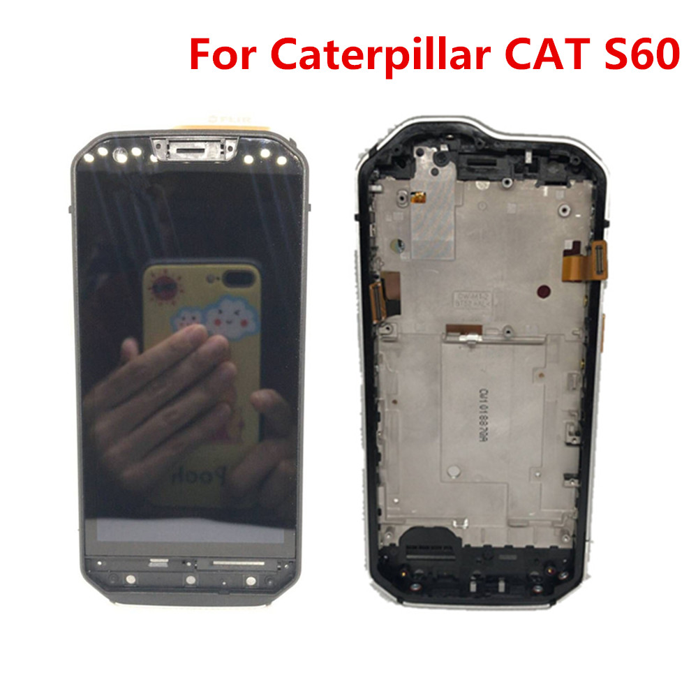 New For Caterpillar CAT S60 Assembly LCD Display Touch Screen Panel Glass With Frame Test Well