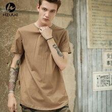 ea3ee3f4a HZIJUE Curved Hem Hip Hop T-shirt Men Urban Kpop Extended T shirt Plain  Longline