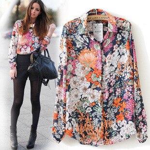 New 2017 Spring Summer Vintage Floral Print Shirt Women's Long ...