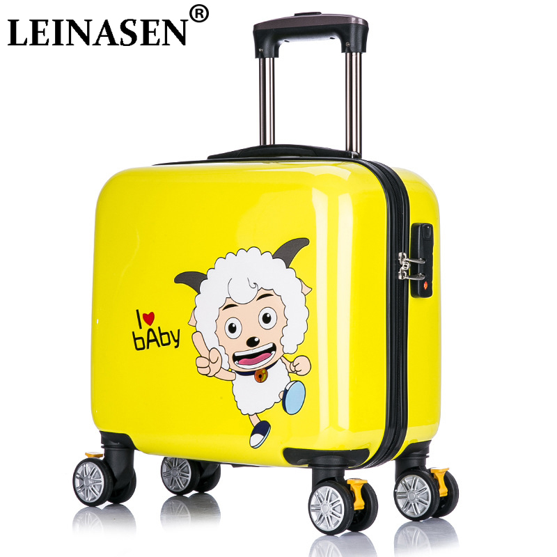 Hotsale!16inches children cartoon abs hardside trolley luggage bag,fashion sheep picture travel luggage for child,child gift