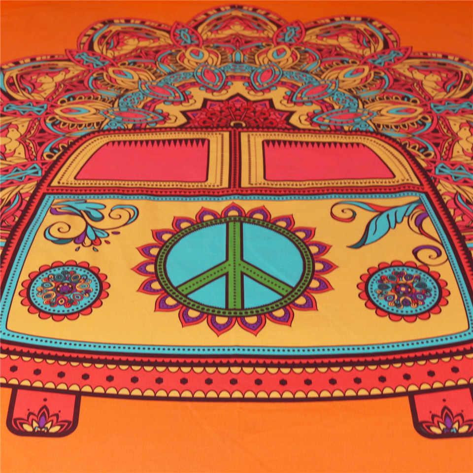 BeddingOutlet Mandala Tapestry Hippie klasyczny samochód pomarańczowy wykładzina ścienna tkanina z mikrofibry ściana artystyczna wisząca czeska dekoracja wnętrz