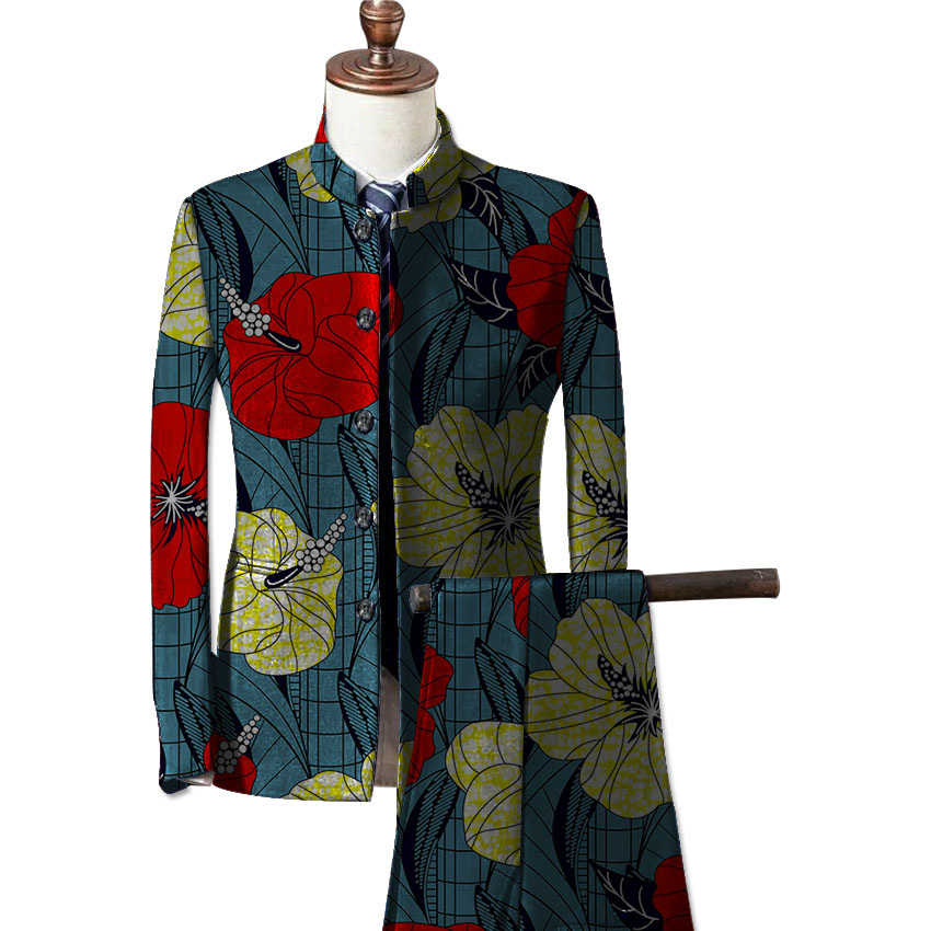 African fashion mens formal wear blazers printed dashiki suit jacket and pants set customize prints africa clothing 3