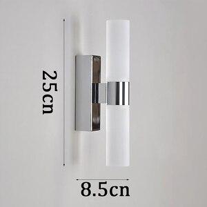 Image 5 - AC85 265V 6 ワットダブルヘッドアクリル led ウォールライトホテル/寝室の壁ランプ浴室のためのステンレス鋼 led ミラーライト
