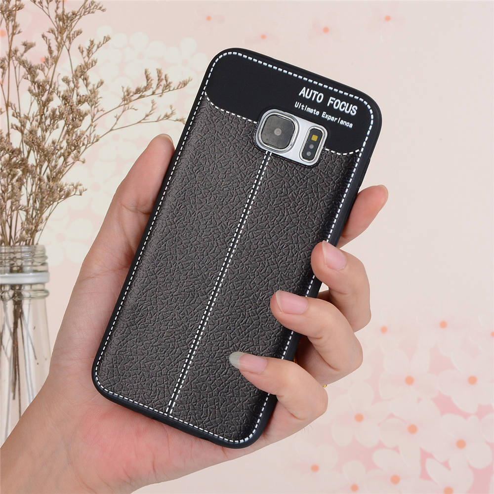 For SAMSUNG Galaxy S7 Cases Litchi Leather Grain TPU Silicone Full Housing  Back Cover For SAMSUNG S7
