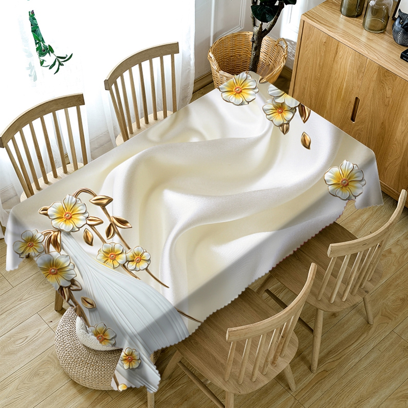 3D Small Relief Flowers Pattern Rectangular Tablecloth Simple Background Washable Polyester Thicken Cotton Round Table Cloth
