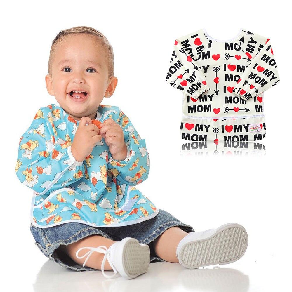 Ohbabyka Baby Feeding Bib Apron Waterproof Lovely Cute Baby Bib Long Sleeve Baberos Impermeables Baby Self Feeding and Eating