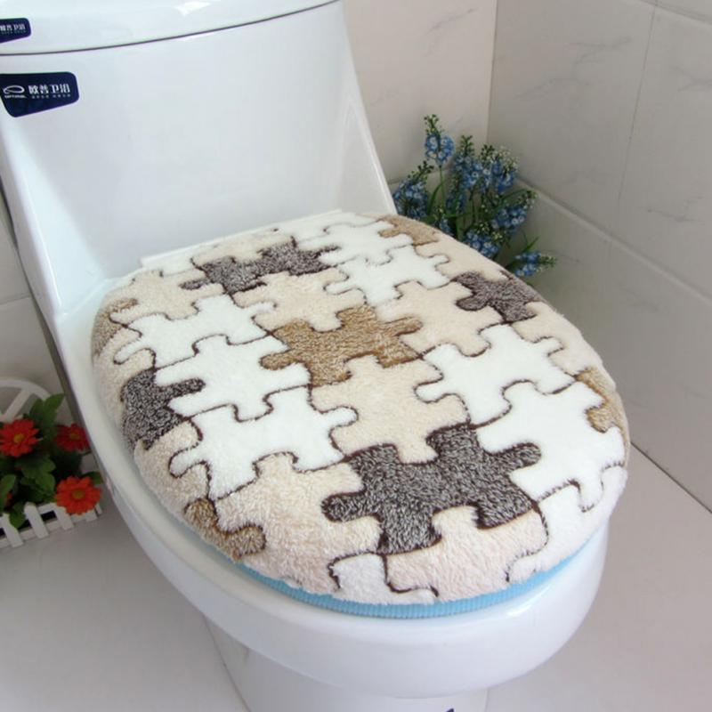 Coral Fleece ชุดฝาปิดห้องน้ำ Super Soft ขนแกะปะการัง 2 ชิ้นเบาะรองนั่งอุ่นชุด TWIN