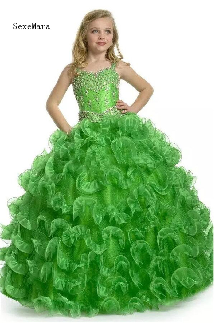 New Arrival Girl Pageant Dress Beautiful Emerald Green Beading Ball Gown Lovely Flower Girl Dresses for Wedding Custom Made lovely purple ball gown long flower girl dresses for wedding custom made girls pageant gown