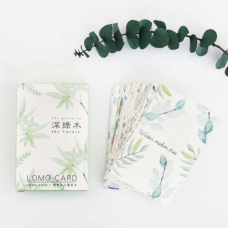 28แผ่น/ชุดสีเขียวพืชใบมินิโปสการ์ด/บัตรอวยพร/บัตรข้อความ/เด็กของขวัญโปสการ์ดKawaiiเครื่องเขียน