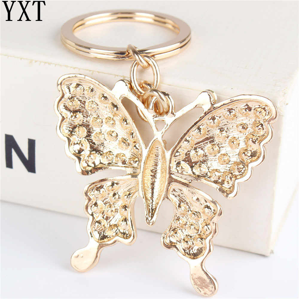 Colgante de tortuga mariposa blanca encanto de diamantes de imitación de cristal bolso llavero accesorios boda fiesta amante amigo regalo