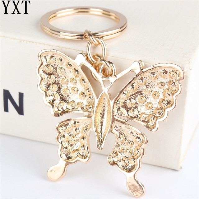 White Butterfly Turtle Pendant Charm Rhinestone Crystal Purse Bag Keyring Key Chain Accessories Wedding Party Lover Friend Gift
