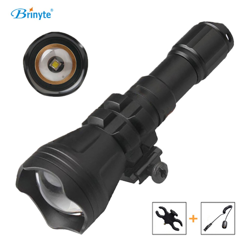 Brinyte B158 Night Hunting Flashlight LED Cree XM-L2 U4 Green Red White Color Beam Zoom with Gun Mount Remote Control Switch brinyte b58u best cree xm l2 3 colors beam led hunting flashlight torch with red green white module remote switch and gun mount