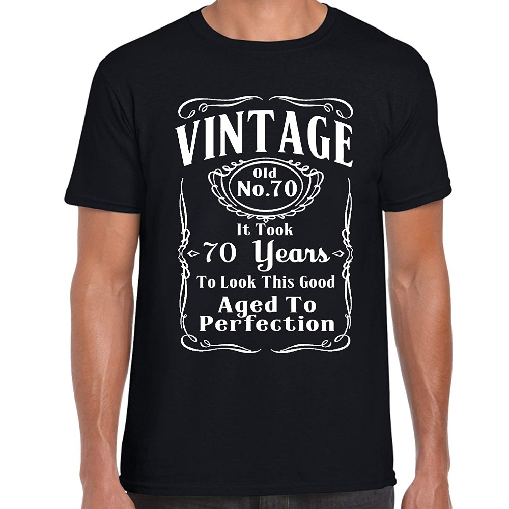 Vintage <font><b>70</b></font> Aged To Perfection - 70Th <font><b>Birthday</b></font> 2019 Men Summer New Brand Men O Neck Short Sleeve Cotton T <font><b>Shirt</b></font> Design Website image