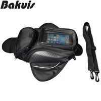 Motorcycle Tank Bag Black Oil Fuel Tank Bag Magnetic Motorbike Saddle Bag Single Shoulder Bag Waterproof Motorcycle Backpack