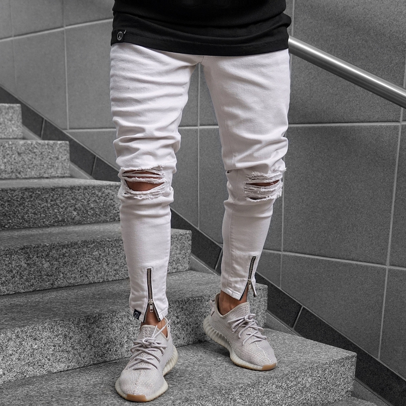 2019 Street Fashion Hiphop white Men Hole Stretch Denim pants Ripped Beggars Skinny Bottom zipper   Jeans