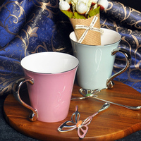 High Grade Bone Porcelain Mug Cup Hand Painted Ceramic Cup With Lid With Spoon Simple